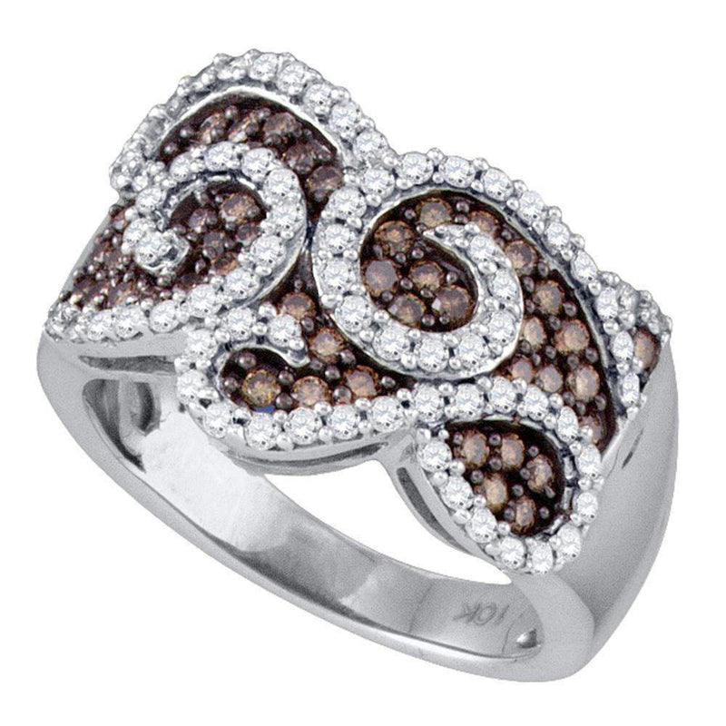 10kt White Gold Women's Round Cognac-brown Color Enhanced Diamond Swirled Cocktail Ring 1.00 Cttw - FREE Shipping (US/CAN)-Gold & Diamond Fashion Rings-5-JadeMoghul Inc.
