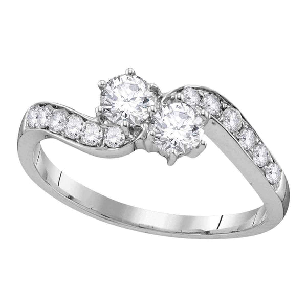 10kt White Gold Womens Round Diamond 2-stone Bridal Wedding Engagement Ring 5-8 Cttw-Gold & Diamond Engagement & Anniversary Rings-JadeMoghul Inc.