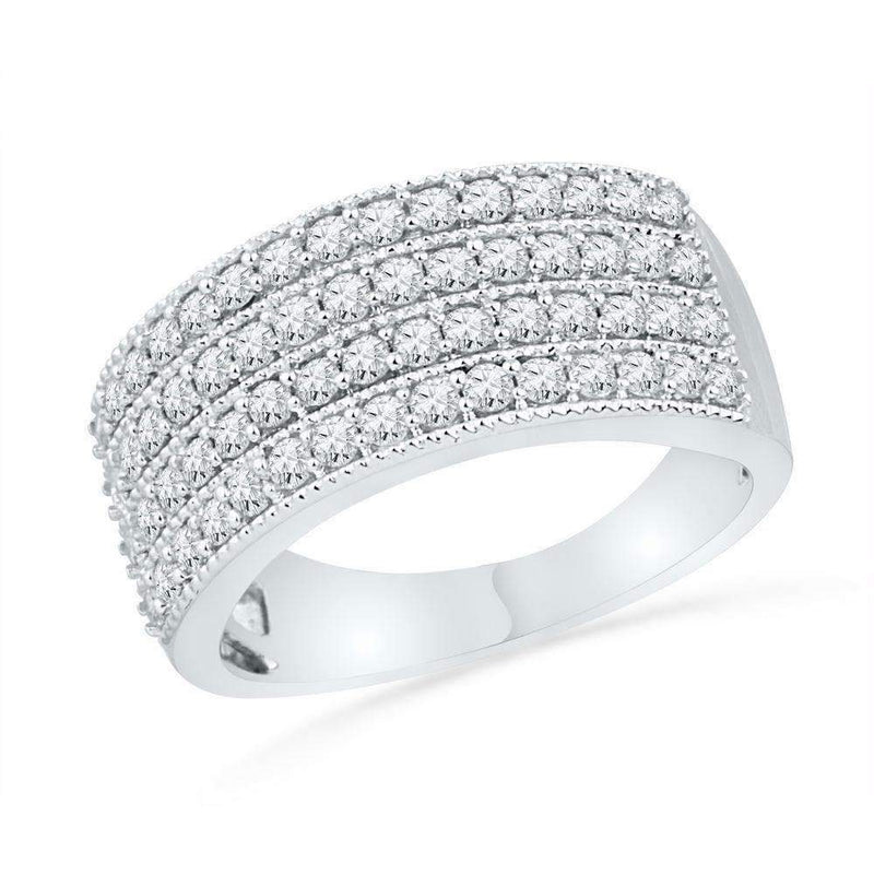 10kt White Gold Women's Round Diamond 4-Row Symmetrical Band Ring 1.00 Cttw - FREE Shipping (US/CAN)-Gold & Diamond Bands-5-JadeMoghul Inc.