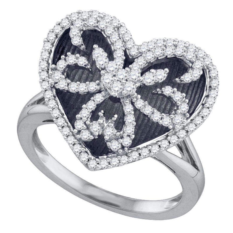 10kt White Gold Women's Round Diamond Black Rhodium Heart Ring 1/2 Cttw - FREE Shipping (US/CAN)-Gold & Diamond Heart Rings-5-JadeMoghul Inc.