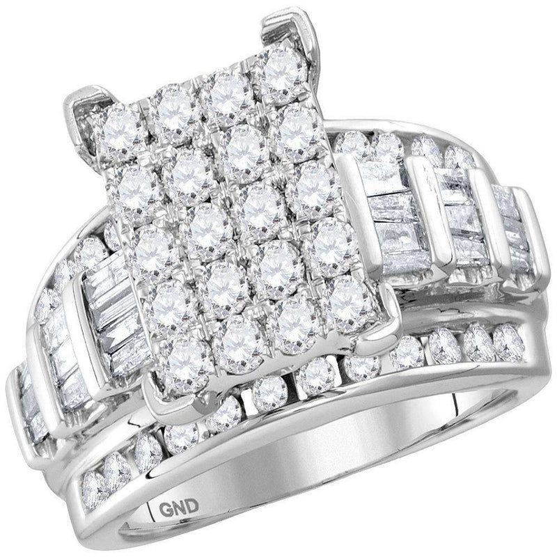 10kt White Gold Women's Round Diamond Cindy's Dream Cluster Bridal Wedding Engagement Ring 2.00 Cttw - FREE Shipping (US/CAN) - Size 10-Gold & Diamond Engagement & Anniversary Rings-JadeMoghul Inc.