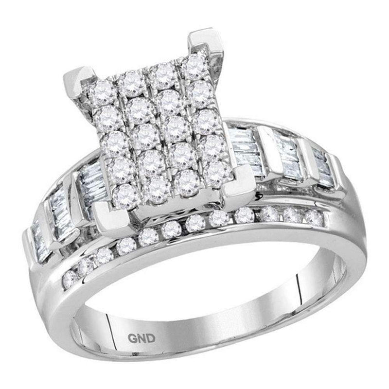 10kt White Gold Women's Round Diamond Cindy's Dream Cluster Bridal Wedding Engagement Ring 7-8 Cttw - FREE Shipping (US/CAN) - Size 9-Gold & Diamond Engagement & Anniversary Rings-JadeMoghul Inc.