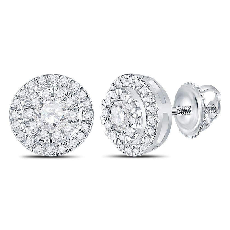 10kt White Gold Womens Round Diamond Circle Cluster Stud Earrings 1-2 Cttw-Gold & Diamond Earrings-JadeMoghul Inc.