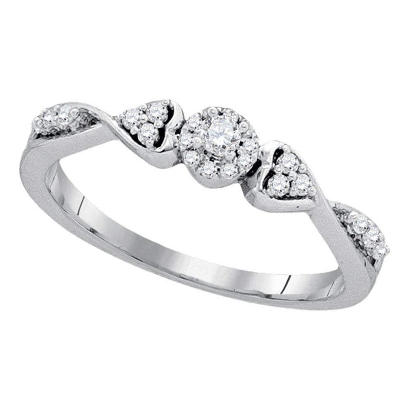 10kt White Gold Women's Round Diamond Cluster Promise Bridal Ring 1/5 Cttw - FREE Shipping (US/CAN)-Gold & Diamond Promise Rings-5.5-JadeMoghul Inc.