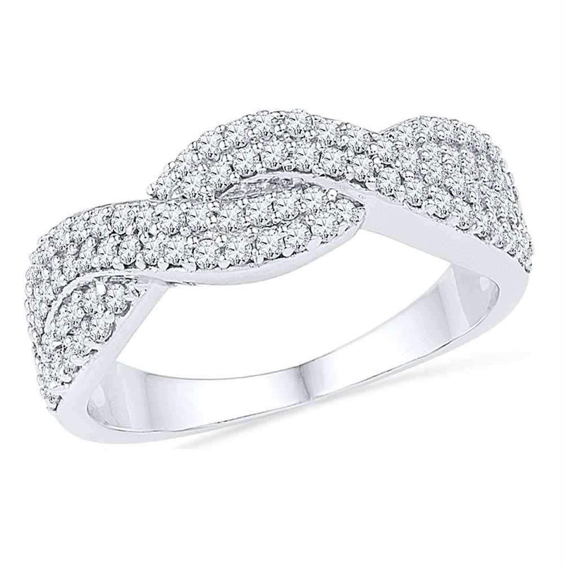 10kt White Gold Women's Round Diamond Crossover Band Ring 1/2 Cttw - FREE Shipping (US/CAN)-Gold & Diamond Bands-5-JadeMoghul Inc.