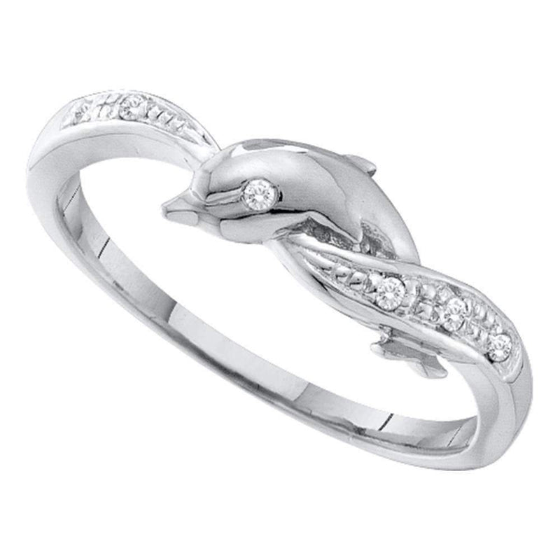 10kt White Gold Women's Round Diamond Dolphin Ring .03 Cttw - FREE Shipping (US/CAN)-Gold & Diamond Rings-5.5-JadeMoghul Inc.