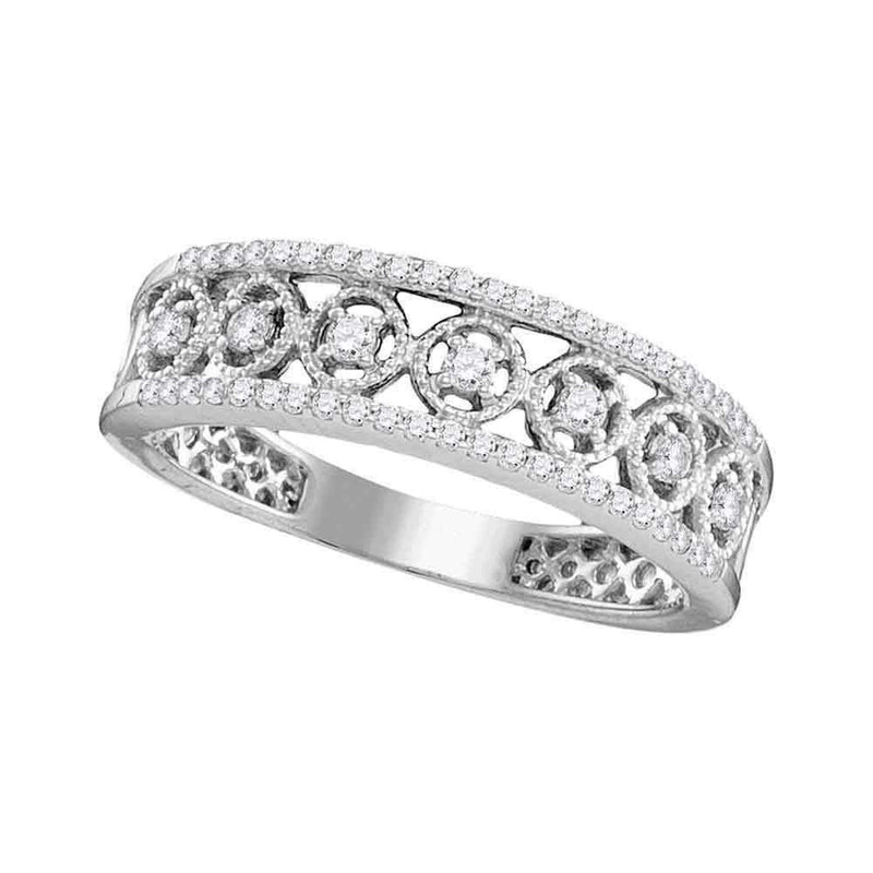 10kt White Gold Women's Round Diamond Filigree Symmetrical Band Ring 1/4 Cttw - FREE Shipping (US/CAN)-Gold & Diamond Bands-5-JadeMoghul Inc.