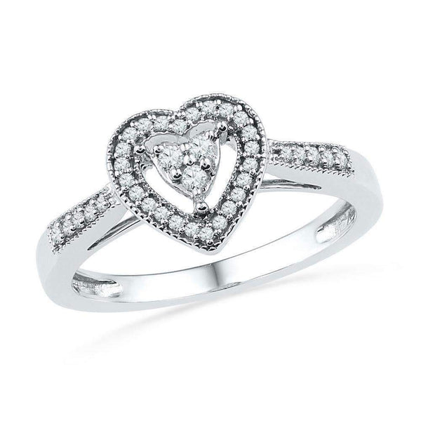 10kt White Gold Womens Round Diamond Heart Cluster Ring 1/5 Cttw - FREE Shipping (US/CAN)-Gold & Diamond Heart Rings-8-JadeMoghul Inc.