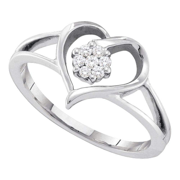 10kt White Gold Women's Round Diamond Heart Flower Cluster Ring 1/12 Cttw - FREE Shipping (US/CAN)-Gold & Diamond Heart Rings-5-JadeMoghul Inc.
