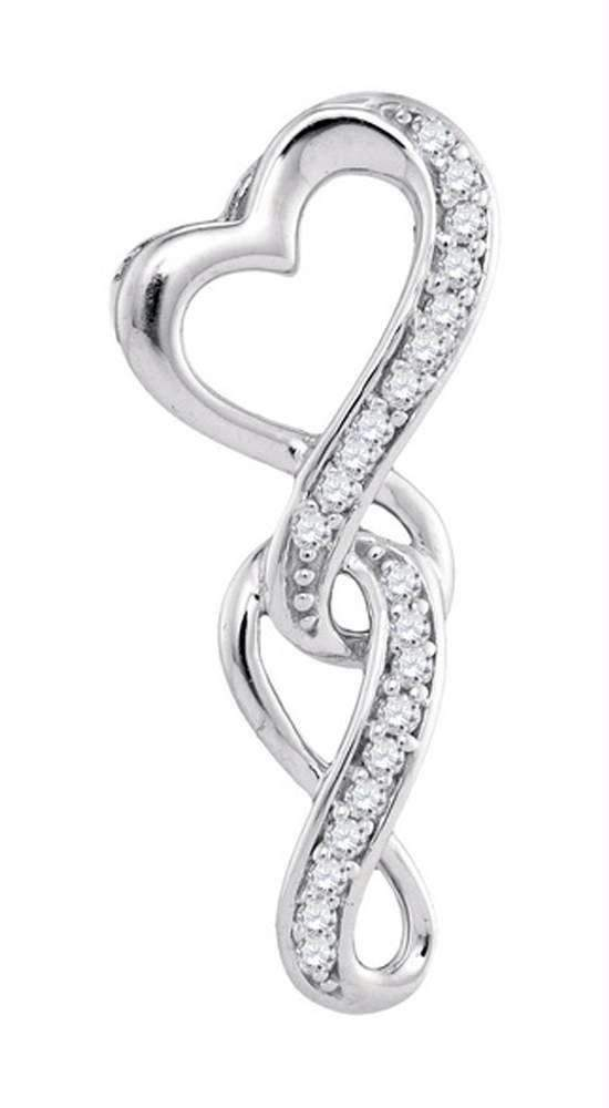 10kt White Gold Women's Round Diamond Heart Infinity Pendant 1-20 Cttw - FREE Shipping (US/CAN)-Gold & Diamond Pendants & Necklaces-JadeMoghul Inc.