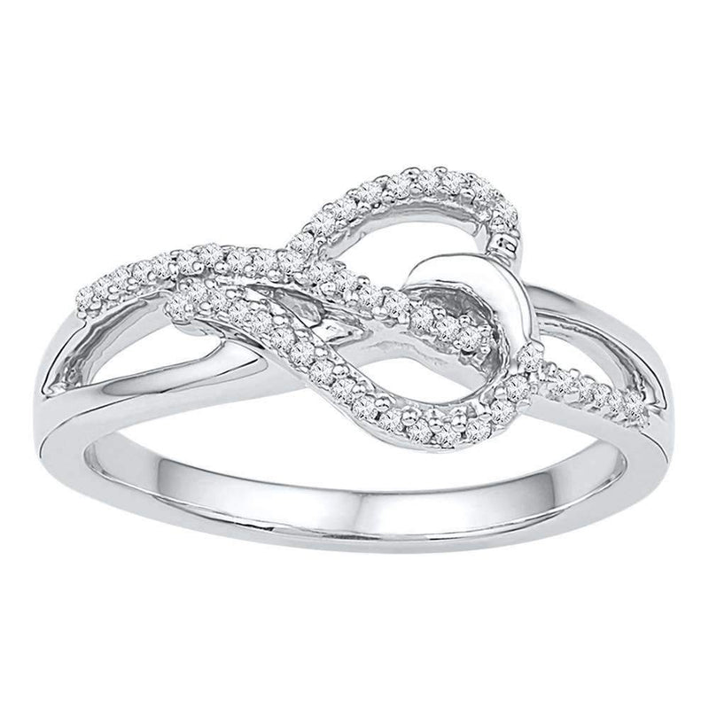 10kt White Gold Women's Round Diamond Heart Infinity Ring 1/6 Cttw - FREE Shipping (US/CAN)-Gold & Diamond Heart Rings-5-JadeMoghul Inc.