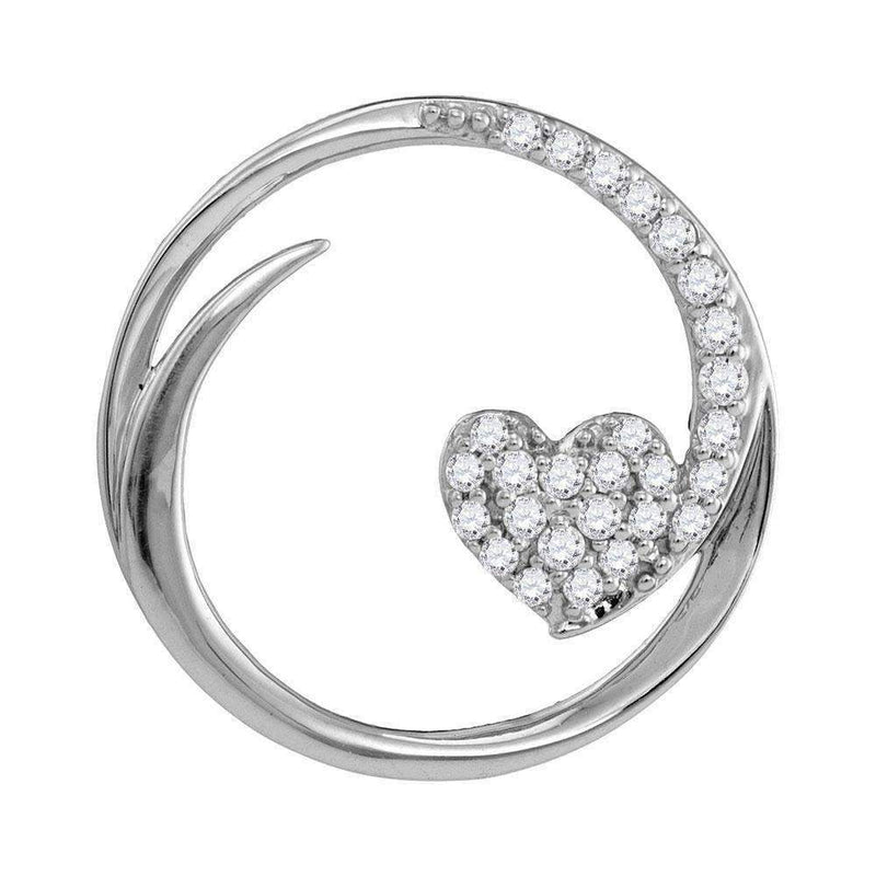 10kt White Gold Women's Round Diamond Heart Love Circle Pendant 1-4 Cttw - FREE Shipping (US/CAN)-Gold & Diamond Pendants & Necklaces-JadeMoghul Inc.
