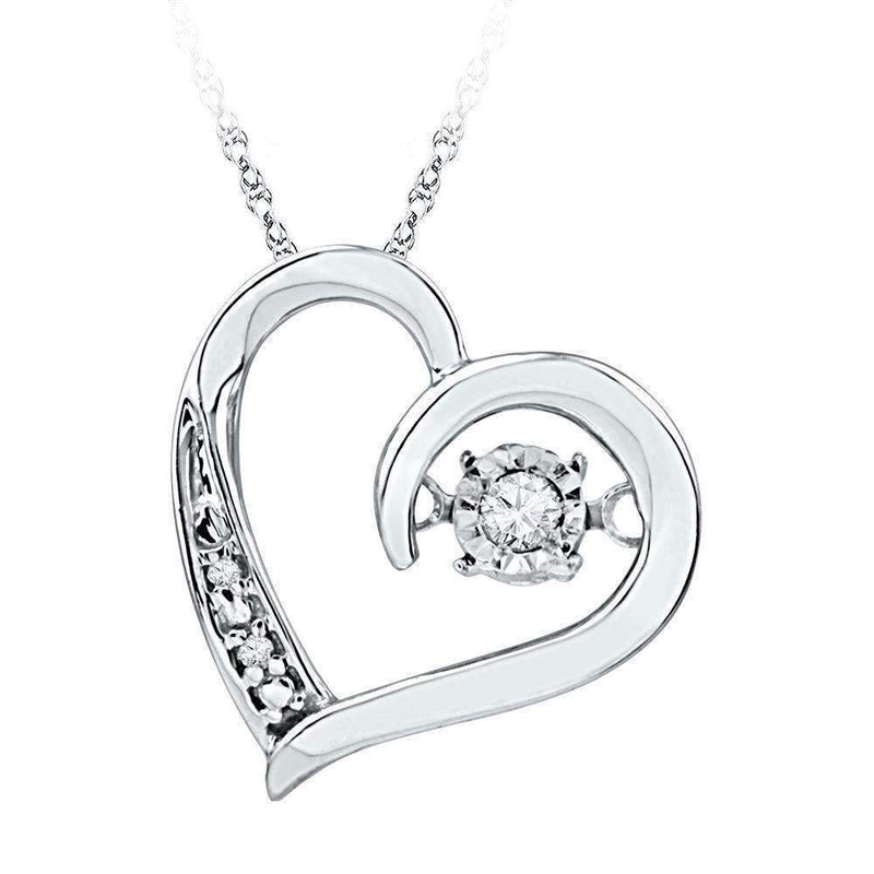10kt White Gold Women's Round Diamond Heart Love Twinkle Moving Pendant 1-20 Cttw - FREE Shipping (US/CAN)-Gold & Diamond Pendants & Necklaces-JadeMoghul Inc.