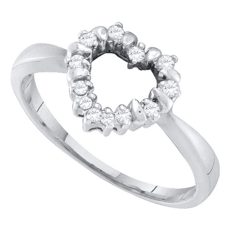 10kt White Gold Women's Round Diamond Heart Outline Ring 1/10 Cttw - FREE Shipping (US/CAN)-Gold & Diamond Heart Rings-5-JadeMoghul Inc.