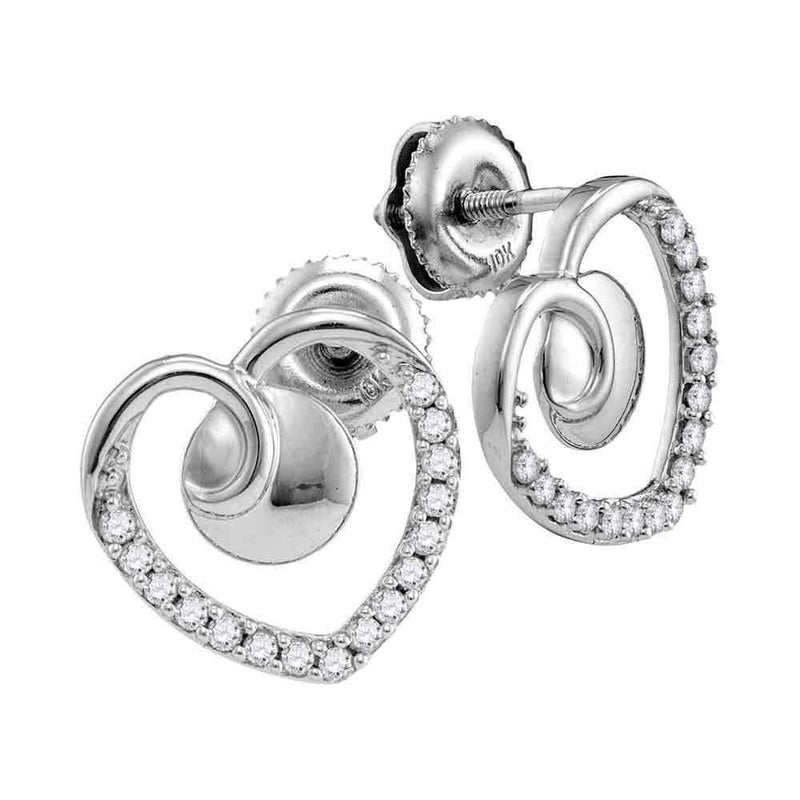 10kt White Gold Women's Round Diamond Heart Screwback Earrings 1-4 Cttw - FREE Shipping (US/CAN)-Gold & Diamond Earrings-JadeMoghul Inc.