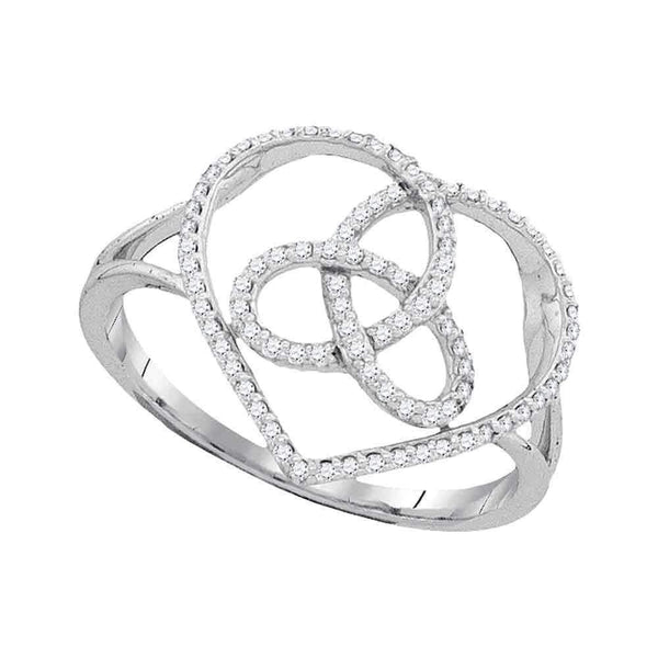 10kt White Gold Womens Round Diamond Heart Triquetra Trinity Ring 1/6 Cttw - FREE Shipping (US/CAN)-Gold & Diamond Heart Rings-5.5-JadeMoghul Inc.