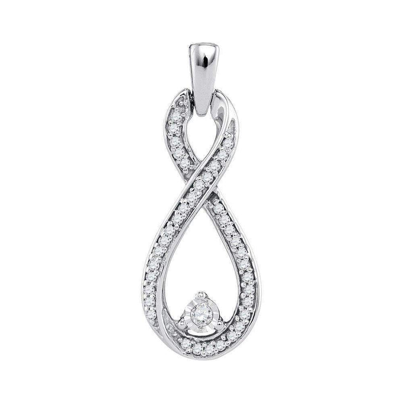 10kt White Gold Women's Round Diamond Infinity Pendant 1-6 Cttw - FREE Shipping (US/CAN)-Gold & Diamond Pendants & Necklaces-JadeMoghul Inc.