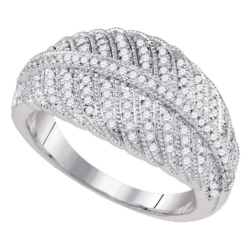 10kt White Gold Women's Round Diamond Milgrain Striped Band Ring 3/8 Cttw - FREE Shipping (US/CAN)-Gold & Diamond Fashion Rings-5-JadeMoghul Inc.