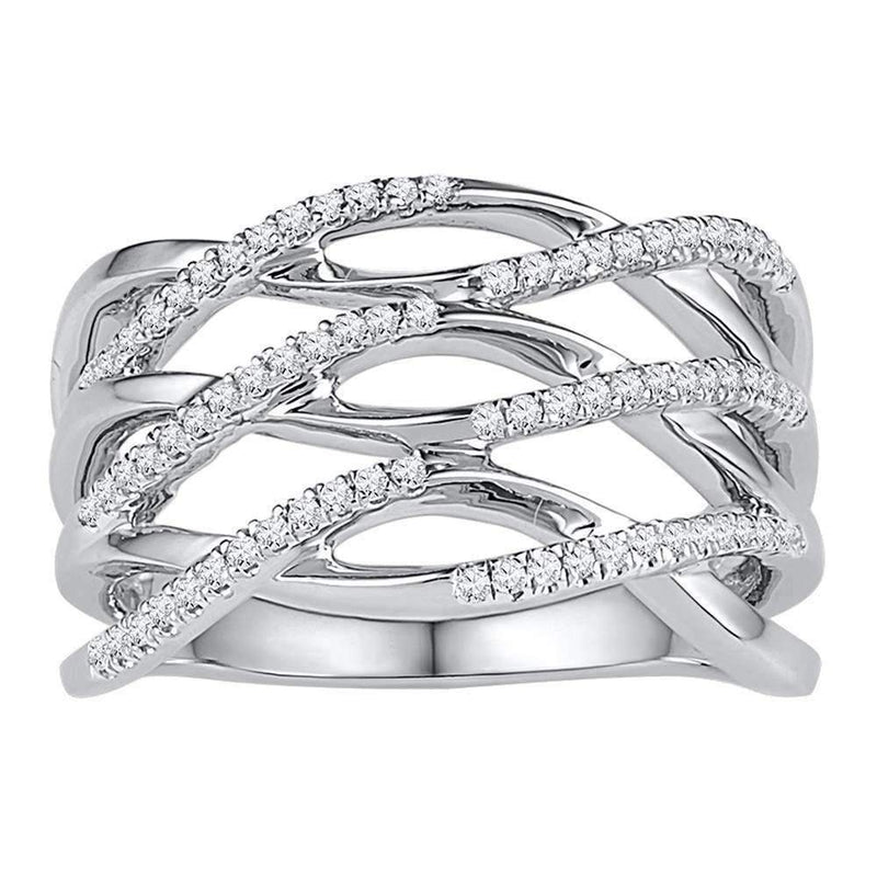 10kt White Gold Women's Round Diamond Openwork Crossover Strand Band Ring 1-4 Cttw - FREE Shipping (US/CAN)-Gold & Diamond Bands-JadeMoghul Inc.