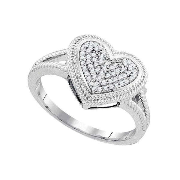 10kt White Gold Womens Round Diamond Rope Heart Love Cluster Ring 1/6 Cttw-Gold & Diamond Heart Rings-5.5-JadeMoghul Inc.