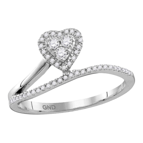 10kt White Gold Women's Round Diamond Slender Heart Band Ring 1/5 Cttw - FREE Shipping (US/CAN)-Gold & Diamond Heart Rings-9-JadeMoghul Inc.