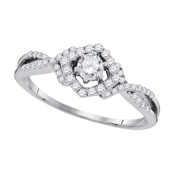 10kt White Gold Womens Round Diamond Solitaire Bridal Wedding Engagement Ring 3-8 Cttw-Gold & Diamond Engagement & Anniversary Rings-JadeMoghul Inc.
