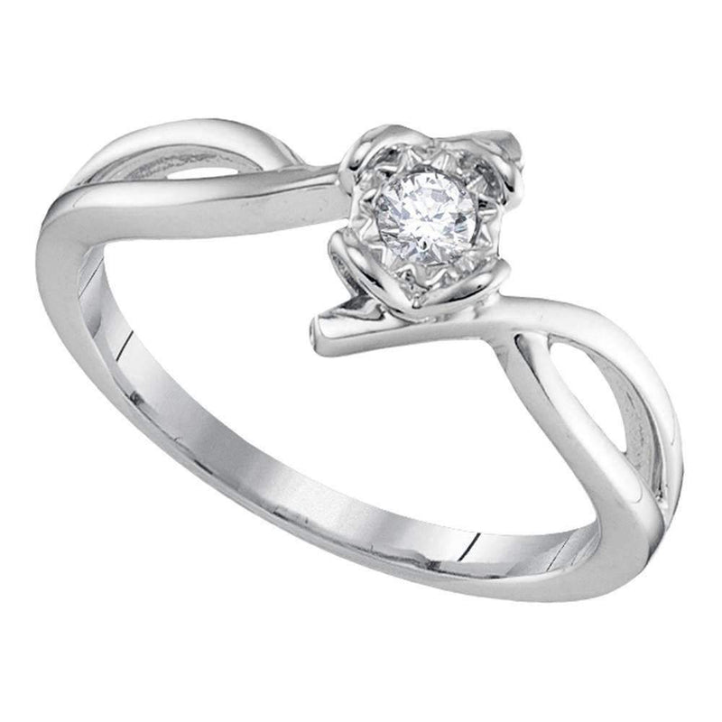 10kt White Gold Women's Round Diamond Solitaire Promise Bridal Ring 1/8 Cttw - FREE Shipping (US/CAN)-Gold & Diamond Promise Rings-5-JadeMoghul Inc.