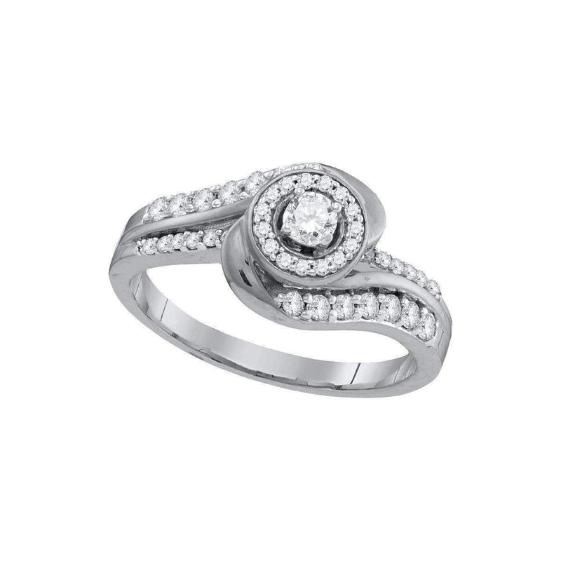 10kt White Gold Women's Round Diamond Solitaire Swirl Bridal Wedding Engagement Ring 1/2 Cttw - FREE Shipping (US/CAN)-Gold & Diamond Engagement & Anniversary Rings-5-JadeMoghul Inc.