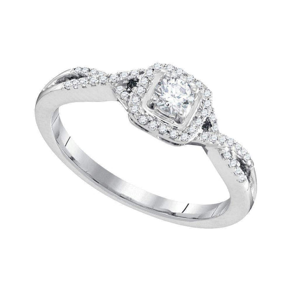 10kt White Gold Womens Round Diamond Solitaire Twist Bridal Wedding Engagement Ring 1-3 Cttw-Gold & Diamond Engagement & Anniversary Rings-JadeMoghul Inc.