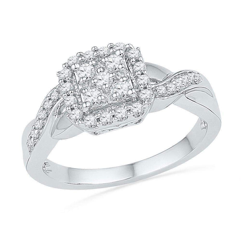 10kt White Gold Women's Round Diamond Square Cluster Ring 1/3 Cttw - FREE Shipping (US/CAN)-Gold & Diamond Cluster Rings-6-JadeMoghul Inc.