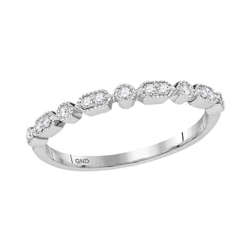 10kt White Gold Women's Round Diamond Stackable Band Ring 1-8 Cttw - FREE Shipping (US/CAN)-Gold & Diamond Rings-JadeMoghul Inc.