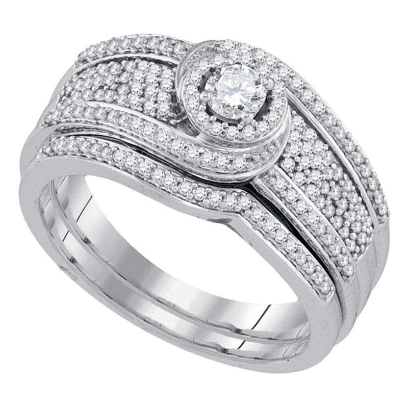 10kt White Gold Women's Round Diamond Swirl Bridal Wedding Engagement Ring Band Set 1/2 Cttw - FREE Shipping (US/CAN)-Gold & Diamond Wedding Ring Sets-5.5-JadeMoghul Inc.