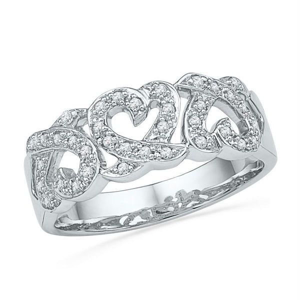 10kt White Gold Womens Round Diamond Triple Heart Band Ring 1/5 Cttw-Gold & Diamond Heart Rings-5.5-JadeMoghul Inc.