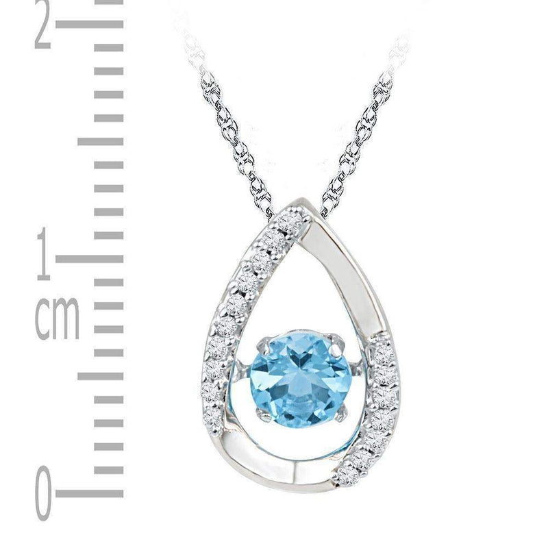 10kt White Gold Women's Round Lab-Created Blue Topaz Solitaire Teardrop Pendant 3-4 Cttw - FREE Shipping (US/CAN)-Gold & Diamond Pendants & Necklaces-JadeMoghul Inc.