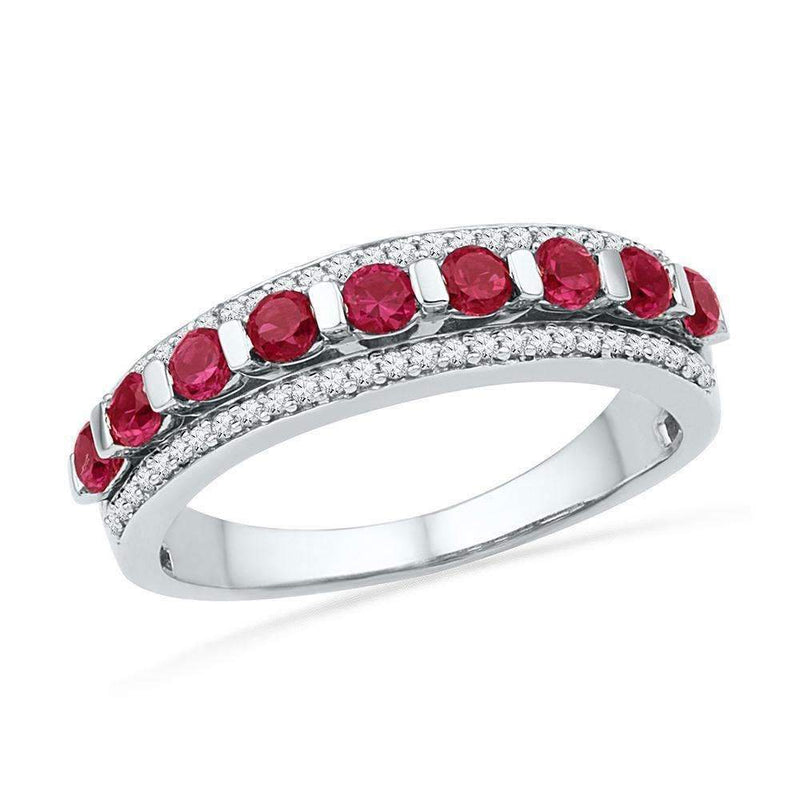 10kt White Gold Women's Round Lab-Created Ruby Diamond Band Ring 1-1-10 Cttw - FREE Shipping (US/CAN)-Gold & Diamond Bands-JadeMoghul Inc.