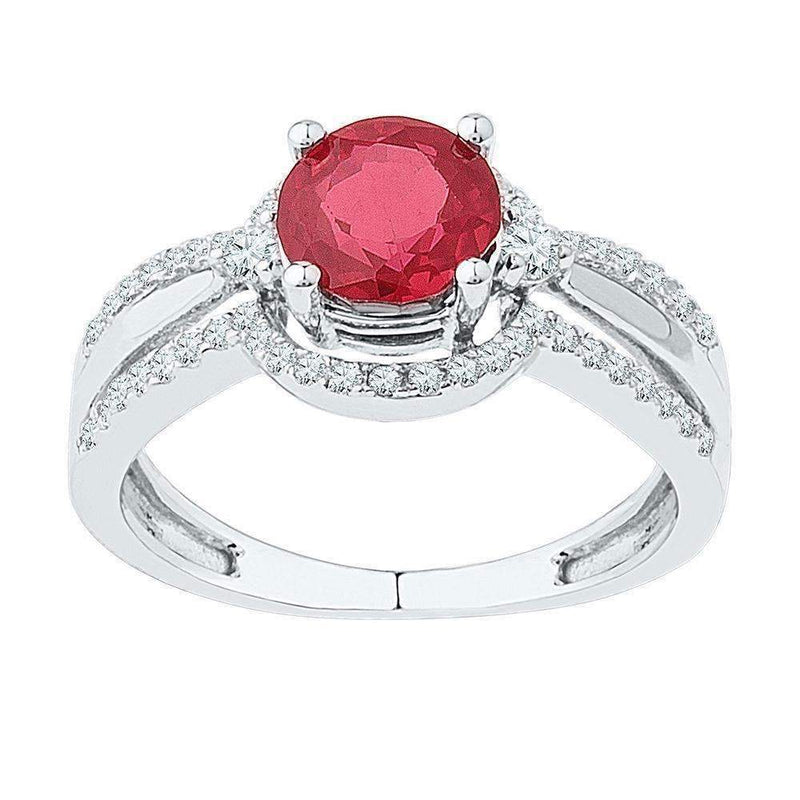 10kt White Gold Women's Round Lab-Created Ruby Solitaire Ring 2-1/12 Cttw - FREE Shipping (US/CAN)-Gold & Diamond Fashion Rings-5.5-JadeMoghul Inc.
