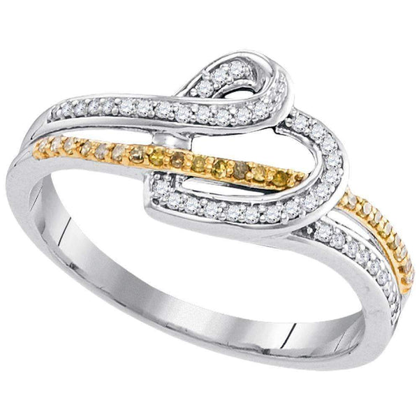 10kt White Gold Women's Round Yellow Color Enhanced Diamond Heart Ring 1/5 Cttw - FREE Shipping (US/CAN)-Gold & Diamond Heart Rings-6-JadeMoghul Inc.