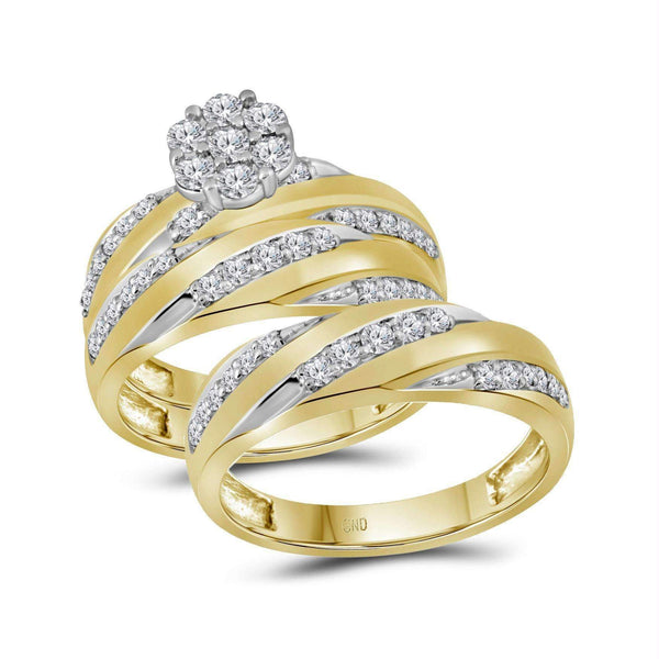 10kt Yellow Gold His & Hers Round Diamond Cluster Matching Bridal Wedding Ring Band Set 1-1/10 Cttw - FREE Shipping (US/CAN)-Gold & Diamond Trio Sets-5-JadeMoghul Inc.