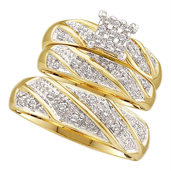 10kt Yellow Gold His & Hers Round Diamond Cluster Matching Bridal Wedding Ring Band Set 1/4 Cttw-Gold & Diamond Trio Sets-8.5-JadeMoghul Inc.