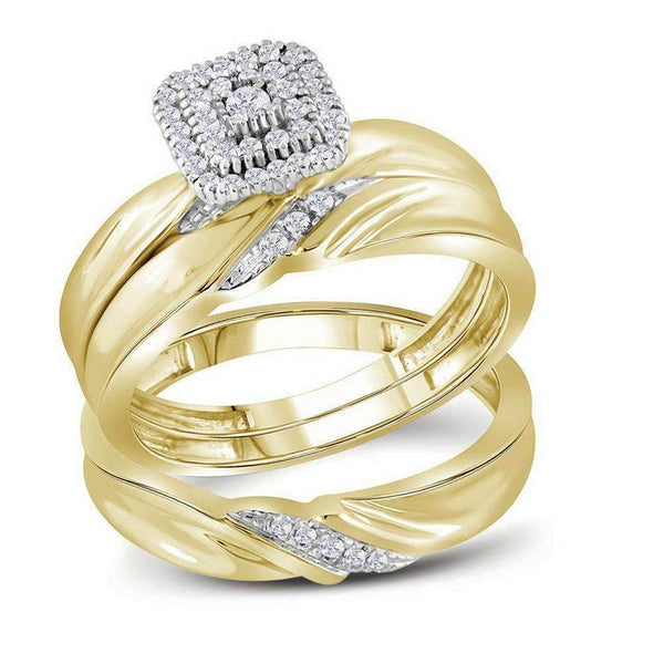10kt Yellow Gold His & Hers Round Diamond Cluster Matching Bridal Wedding Ring Band Set 1/5 Cttw - FREE Shipping (US/CAN)-Gold & Diamond Trio Sets-5-JadeMoghul Inc.