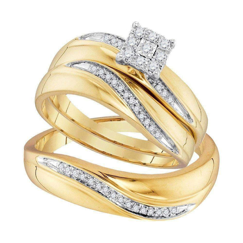 10kt Yellow Gold His & Hers Round Diamond Cluster Matching Bridal Wedding Ring Band Set 1/5 Cttw - FREE Shipping (US/CAN)-Gold & Diamond Trio Sets-8-JadeMoghul Inc.