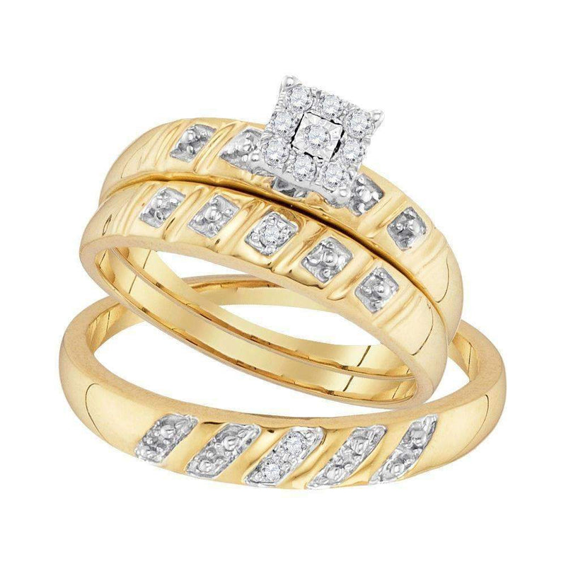 10kt Yellow Gold His & Hers Round Diamond Cluster Matching Bridal Wedding Ring Band Set 1/8 Cttw - FREE Shipping (US/CAN)-Gold & Diamond Trio Sets-5-JadeMoghul Inc.