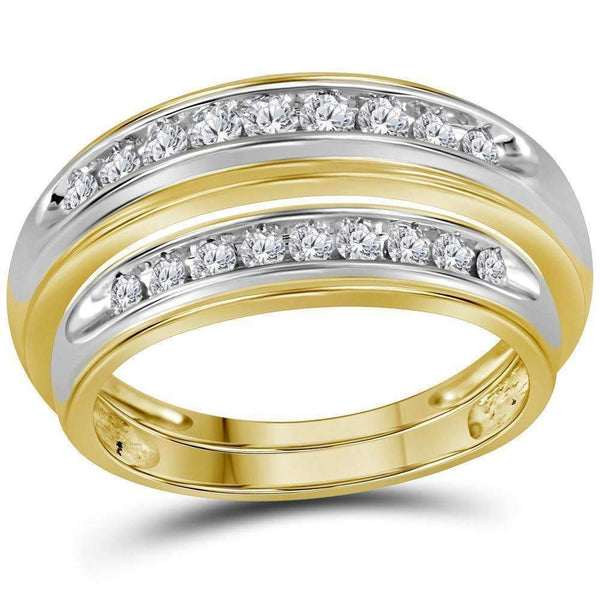 10kt Yellow Gold His & Hers Round Diamond Matching Wedding Band Set 1/2 Cttw - FREE Shipping (US/CAN)-Gold & Diamond Trio Sets-5-JadeMoghul Inc.