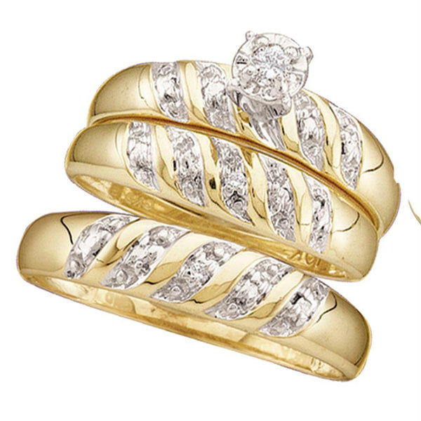 10kt Yellow Gold His & Hers Round Diamond Solitaire Matching Bridal Wedding Ring Band Set 1/12 Cttw-Gold & Diamond Trio Sets-5-JadeMoghul Inc.