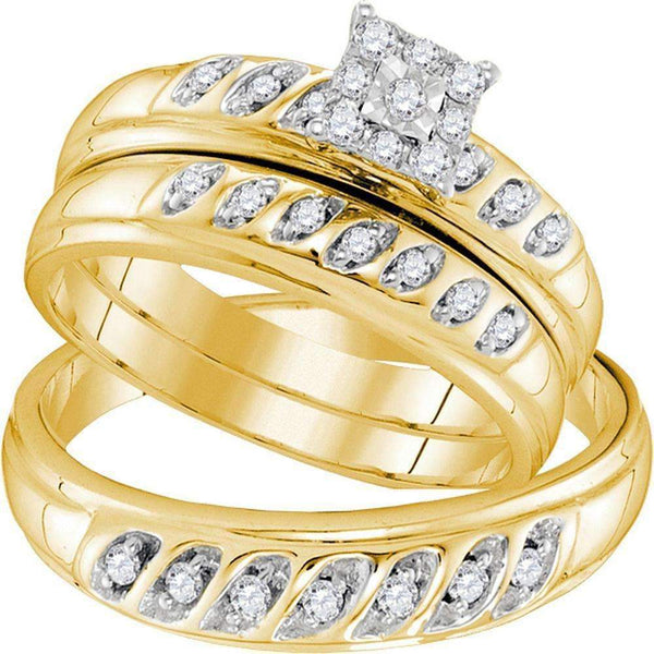 10kt Yellow Gold His & Hers Round Diamond Solitaire Matching Bridal Wedding Ring Band Set 1/3 Cttw - FREE Shipping (US/CAN)-Gold & Diamond Trio Sets-5-JadeMoghul Inc.