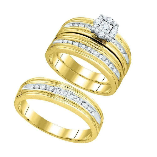 10kt Yellow Gold His & Hers Round Diamond Solitaire Matching Bridal Wedding Ring Band Set 3/8 Cttw-Gold & Diamond Trio Sets-5-JadeMoghul Inc.