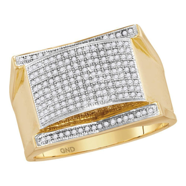 10kt Yellow Gold Mens Diamond Arched Rectangle Cluster Ring 1/2 Cttw-Gold & Diamond Men Rings-JadeMoghul Inc.