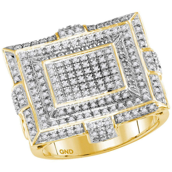 10kt Yellow Gold Mens Diamond Cluster Fashion Ring 5/8 Cttw-Gold & Diamond Men Rings-JadeMoghul Inc.