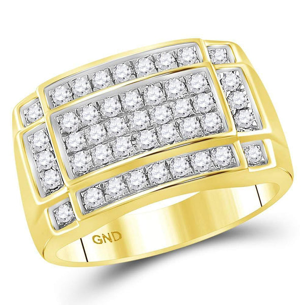 10kt Yellow Gold Mens Diamond Rectangle Cluster Ring 1.00 Cttw-Gold & Diamond Men Rings-JadeMoghul Inc.