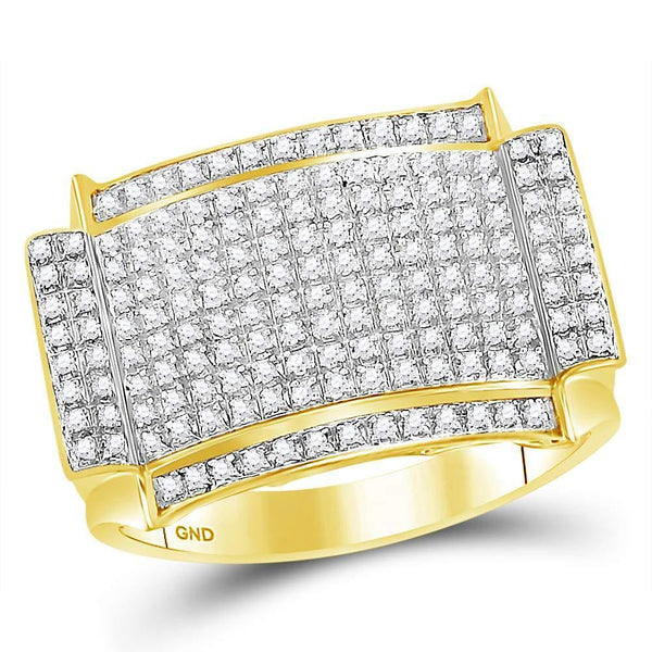 10kt Yellow Gold Mens Diamond Rectangle Cluster Ring 1/2 Cttw-Gold & Diamond Men Rings-JadeMoghul Inc.